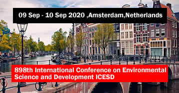 898th International Conference on Environmental Science and Development ICESD 2020 - Amsterdam - Net