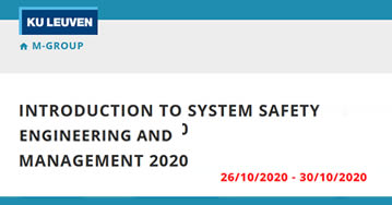 Introduction to System Safety Eengineering And Management 2020 - Brujas - Bélgica